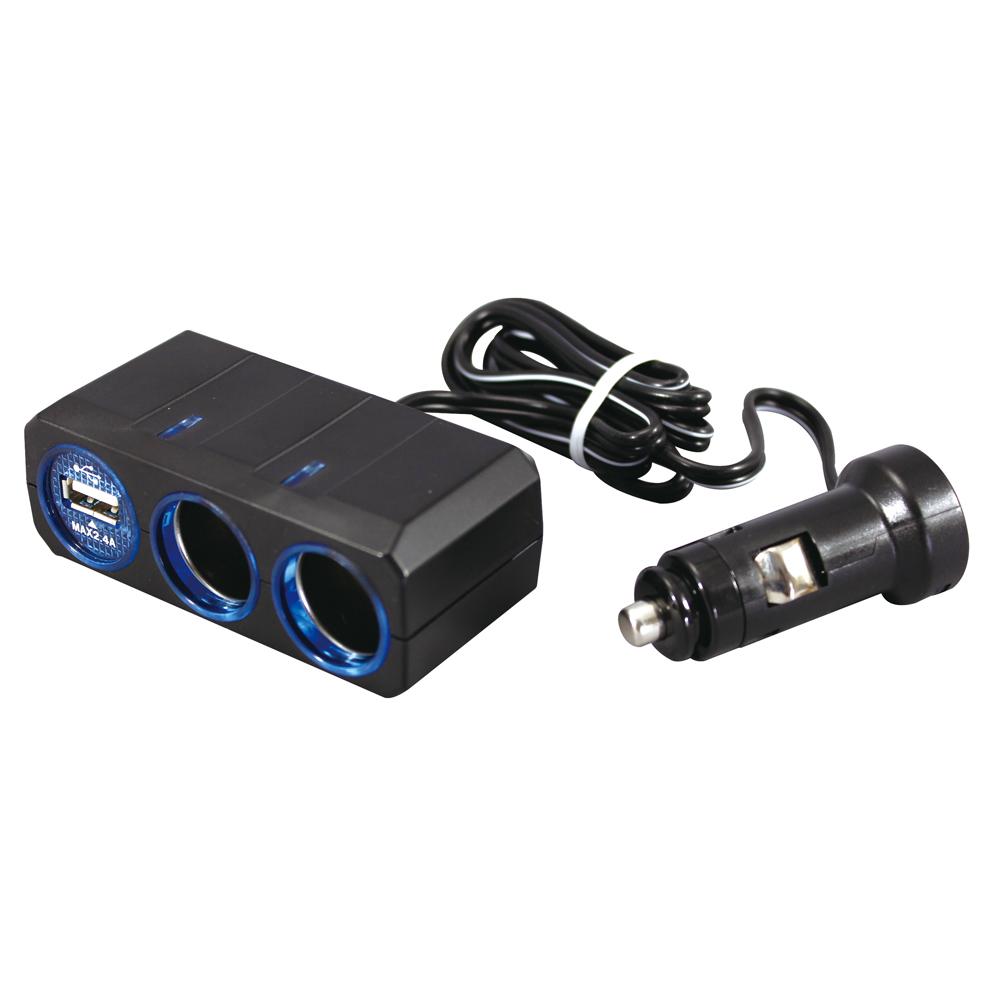 リングライトソケット ツイン+USB 2.4A