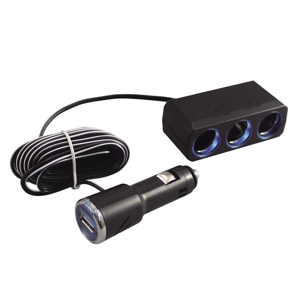 3連リングライトソケット+USBポート付プラグ 3m