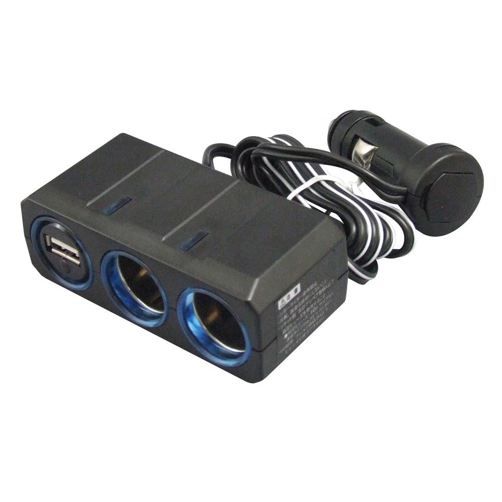 リングライトソケット ツイン+USB 12/24V
